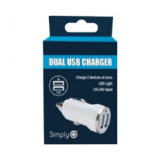 White Dual USB Car Charger